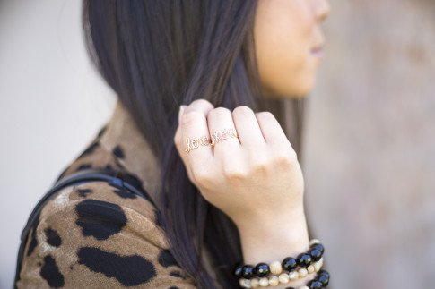 An Dyer wearing Leopard Blazer, We The Hatters Love More Custom Made Rings. jpg