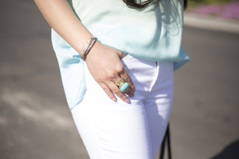 An Dyer wearing NYDJ Crystal Blue Ombre Top, Sole Society Leather Plated Wrap Bracelet & Turquoise Oversized Stone Armor Ring