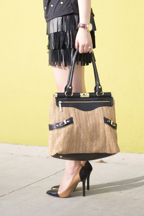 An Dyer wearing Sole Society Blakeley Nude Black Pumps, Zara Leather Fringe Skirt, Olivia Joy Swanky Straw Satchel, Michael Kors Parker Leather Watch