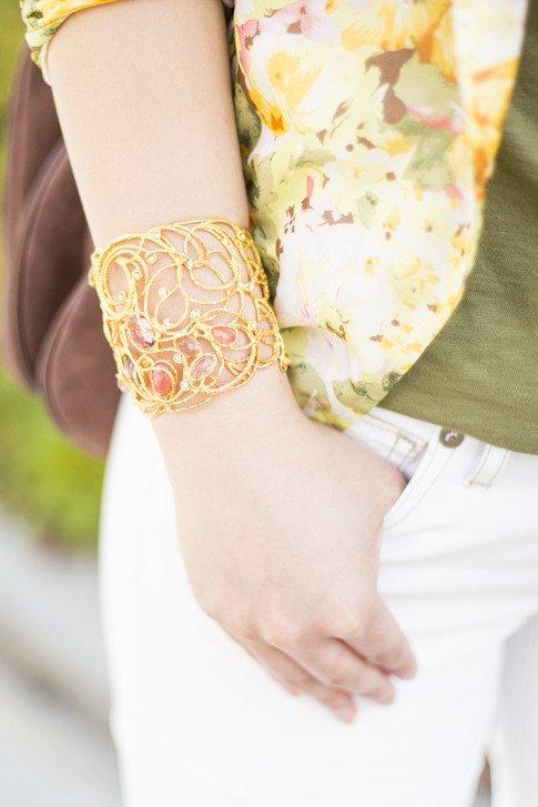 An Dyer wearing Mauritius Golden Lace Cuff Bracelet Peach