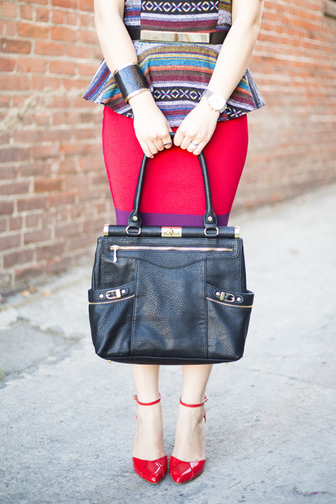 An Dyer Wearing Sole Society Julianne Hough Giselle Pumps in Red, Olivia Joy Swanky Satchel, JewelMint Cobra Cuff, Metal Plate Belt, Express Colorblock Pencil Bodycon Skirt