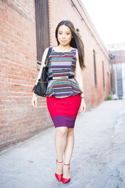 An Dyer Wearing Sole Society Julianne Hough Giselle Pumps in Red, Olivia Joy Swanky Satchel, Vintage Havana Tribal Peplum Tank, JewelMint Cobra Cuff, Metal Plate Belt, Express Colorblock Pencil Bodycon Skirt