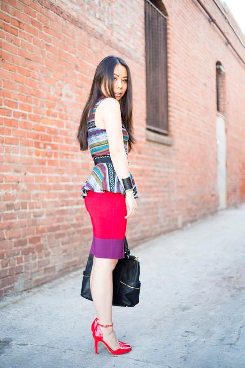 An Dyer Wearing Sole Society Julianne Hough Giselle Pumps in Red, Vintage Havana Tribal Peplum Tank, JewelMint Cobra Cuff, Metal Plate Belt, Express Colorblock Pencil Bodycon Skirt