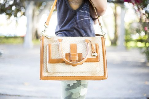 An Dyer wearing Brahmin Atelier Brookline Satchel