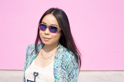 An Dyer wearing Lovers+Friends x Stylyt Bombshell Blazer, Vintage Havana Nautical Anchor Top, George Gina Lucy Purple Mirrored Sunglasses, Mason Grace Triangle Collar Necklace