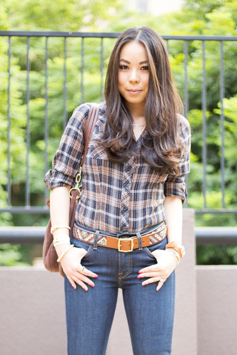 An Dyer wearing Lucky Brand Charlotte Kick Flare & Embroidered Belt, B Makowsky Brown Leather Hobo Bag, Gorjana Griffin Necklace, Square Ring