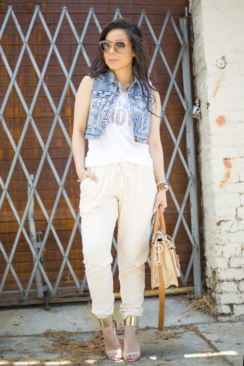 An Dyer wearing Piper Gore Clementine Lace Pant, Celine Paris Audrey Pink, Lovers & Friends California Grown Tank, Bebe Jacqueline Sandals, Brahmin Atelier Brookline Satchel, Forever 21 Distressed Denim Vest, G