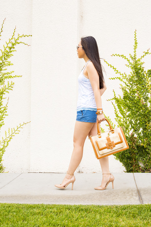 An Dyer wearing Sole Society Giselle Nude Pumps, Brahmin Atelier Brookline Satchel, Zara Chambray Denim Shorts, Foster Grant Aviator Sunglasses, Honeydew Intimates Diamondback Tank