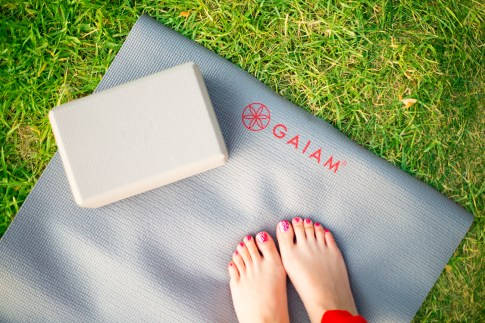 Gaiam Zen Garden Print Yoga Mat & Flower of Life Embossed Yoga Block
