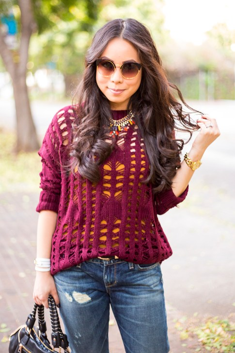 An Dyer wearing heartLoom Samara Knitted Sweater in Burgundy, Rich & Skinny The Boy & Girl Jeans