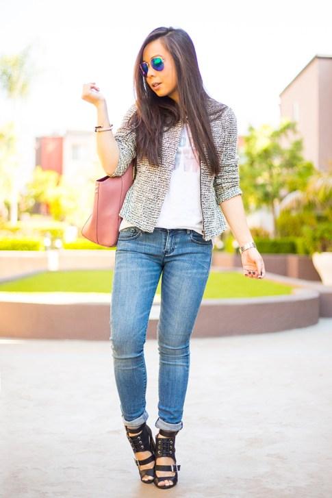HautePinkPretty ShoeDazzle Raja, B Makowsky, AX Jeans, Loft Tweed Peplum Jacket