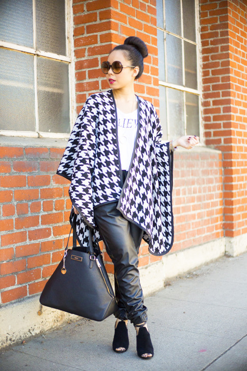 An Dyer wearing Faux Leather Sweatpants, Houndstooth Poncho, CJ by Cookie Johnson Believe Tee, Tom Ford Carrie, ShoeMint Cece, DKNY Saffiano Tote