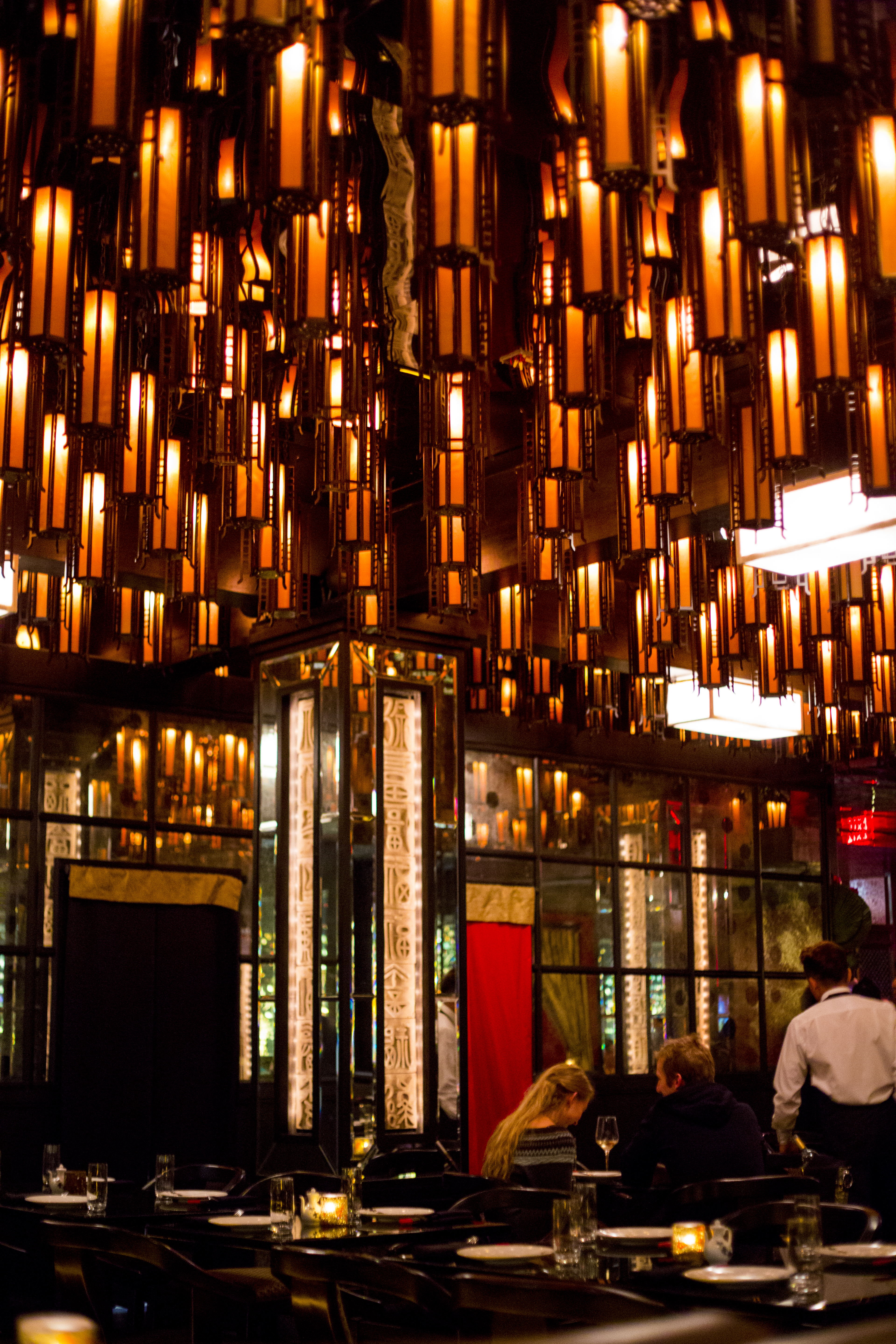 Stunning ceiling covered with lanterns!