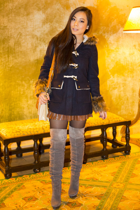 An Dyer wearing Faux Fur Anorak Toggle, Taupe Grey OTK Boots