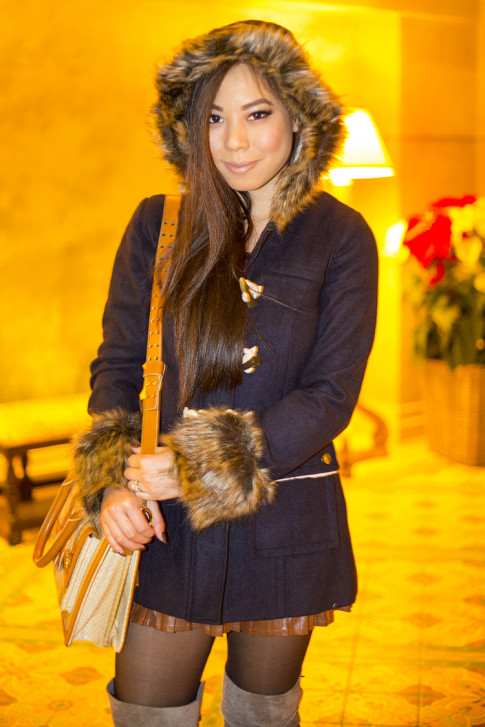 An Dyer wearing Faux Fur Hooded Toggle Coat