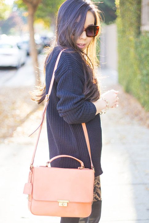 Rose Gold & Black Fall Outfit Idea