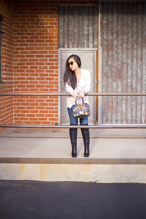 An Dyer wearing Michael Stars Angora Moto Jacket, UGG Dreaux Over The Knee Shearling Boots, Koret Tudor Demi Leopard Satchel, chilli beans green sunglasses