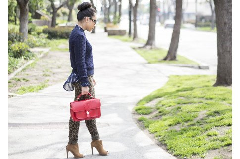 An-Dyer-wearing-Sole-Society-Britt-Messenger-Bag-in-Red-Julianne-Hough-Angela-Booties-Big-Star-Leopard-Skinny-Jeans-Navy-Polka-Dot-Blouse-Prada-Baroque-Sunglasses-American-Apparel-Navy-Cable-Knit-Swe