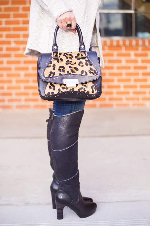 Koret Tudor Demi Leopard Satchel, UGG Dreaux Over The Knee Shearling Boots