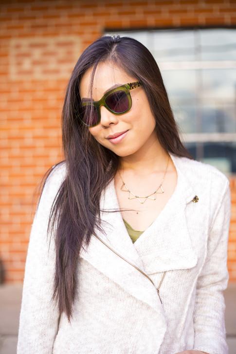 Michael Stars Angora Moto Jacket, Chilli Beans Green Sunglasses
