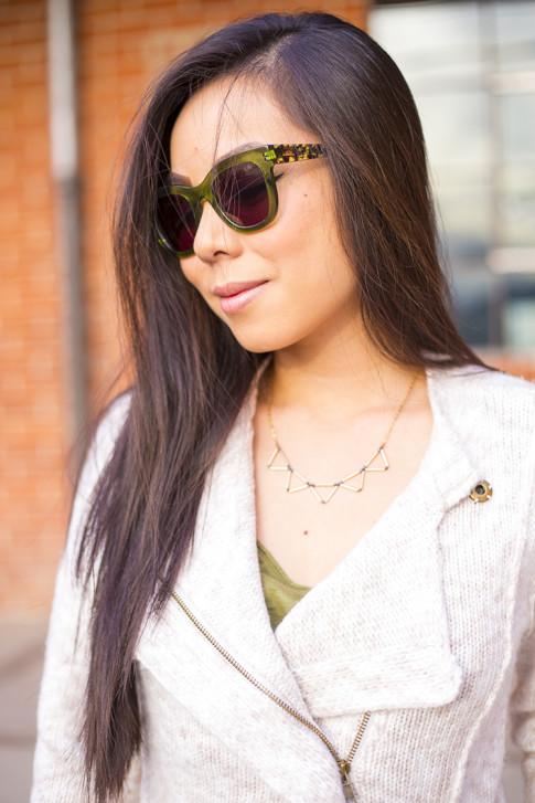 Michael Stars Angora Moto Jacket, Chilli Beans Sunglasses