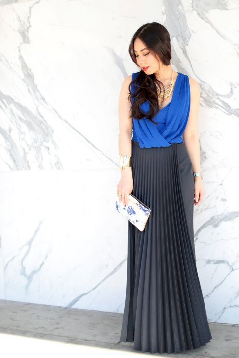 Elegant Pleated Maxi and Cropped Top