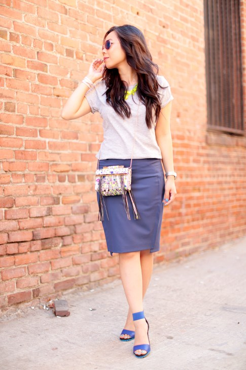 An Dyer wearing Foster Grant Blue Mirrored Aviator Sunglasses, Neon Yellow Necklace and The One by Cotton On Tee, Katherine Kwei Fringe Crossbody, Chaiken Skirt, ShoeDazzle Kaleen