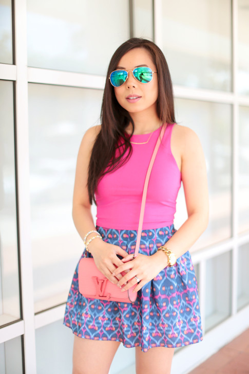 Blue Mirrored Aviators with Louis Vuitton Louise Corail and Aeropostale Bethany Mota Outfit