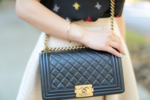 Wearing Chanel 14A Pearly Black Lamb Boy Bag GHW Old Medium