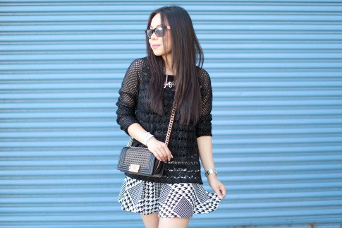 Wearing Chanel Boy Bag 14P Braided Small Black GHW