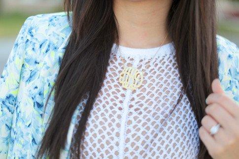 Wearing Eve's Addiction Monogram Necklace
