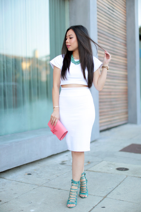 Wearing JustFabTaesha, Bebe White Crop top and bodycon white pencil skirt