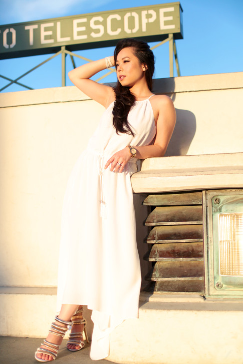 White Grecian Dress at The Griffith Observatory