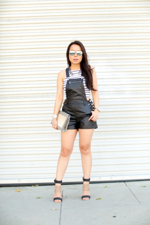 Striped Crop Top & Leather Shortalls