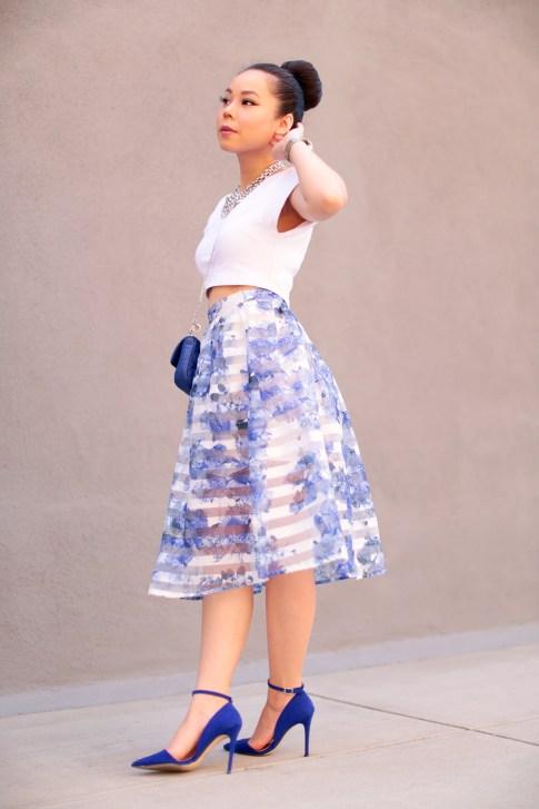 Blue Floral Stripe Sheer Midi Skirt