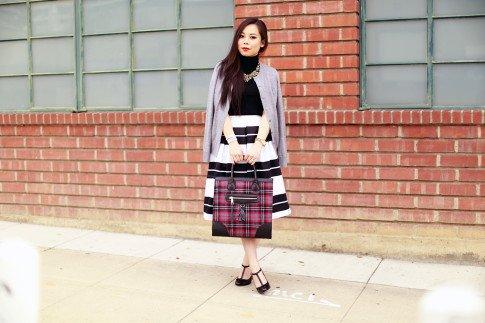 Bold Striped Midi Skirt Turtleneck Sweater Red Plaid Tote TStrap Mary Jane