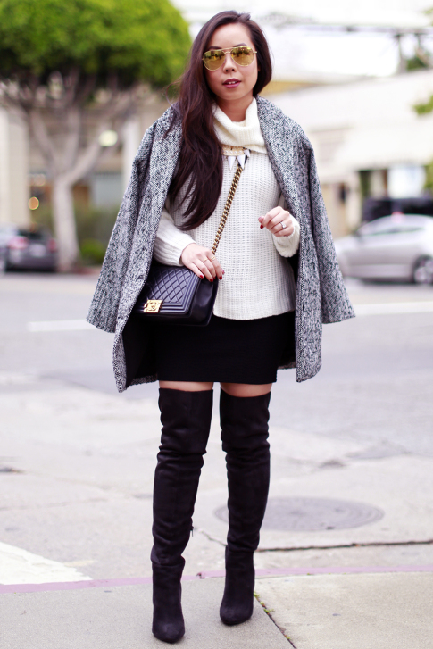 Chunky Turtleneck Sweater with Mini Skirt Over The Knee OTK Boots Cape Coat over Shoulders
