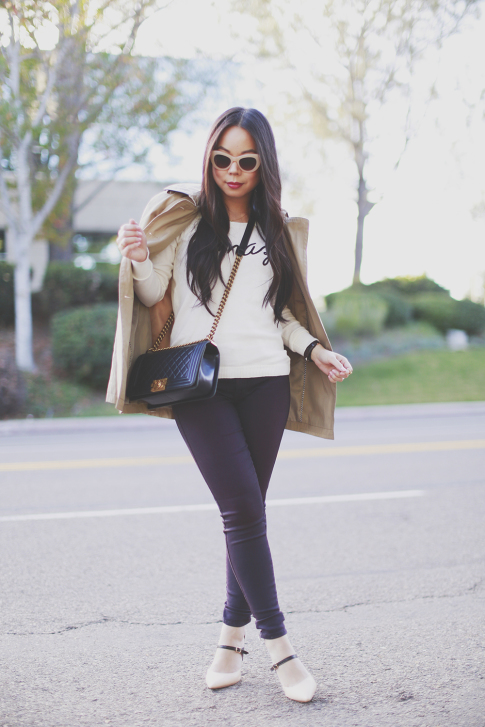 An Dyer wearing Express Trench Coat and Amaze Sweater, Chanel Boy Bag, CJ by Cookie Johnson Jeans, Shoedazzle pumps