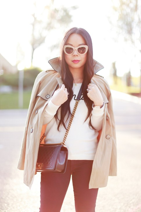An Dyer wearing Express Trench Coat and Amaze Sweater, Chanel Boy Bag, CJ by Cookie Johnson Jeans