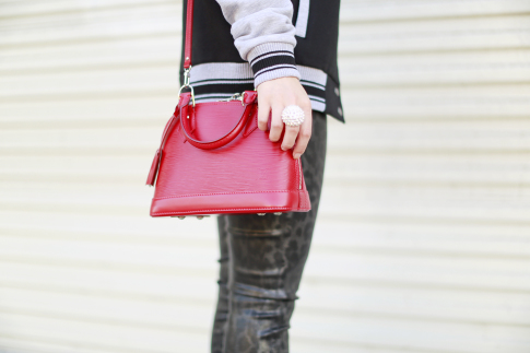 Varsity Jacket, Winter Boots, Red Bag, Leopard Coated Jeans