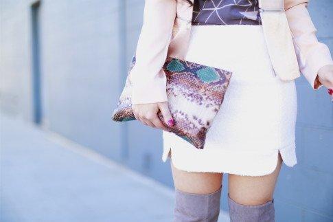 snakeskin print clutch Zara
