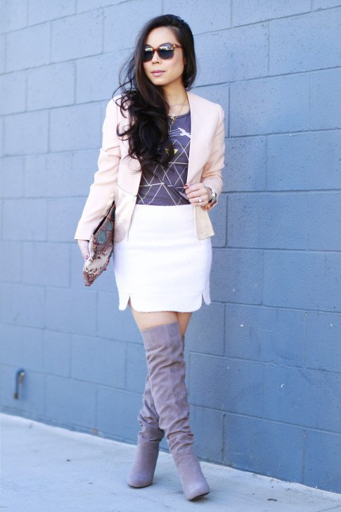 1.State Matte & Shine Satin Zip Blazer and Boucle Zip Mini Skirt | Haus of Moo Necklace | SALT Optics x Spring App Sunglasses| Zara Clutch | JustFab Aimee Grey Suede Over The Knee Boots (similar) | Forever 21 Graphic Tee