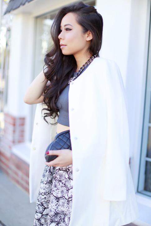 White Coat Crop Top Snakeprint Midi Skirt