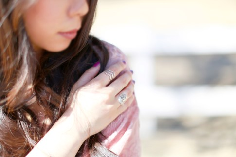 An Dyer wearing Dogeared Balance Rings with Haus of Moo Dreamcatcher Ring