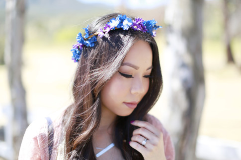 An Dyer wearing Purple Blue Flower Crown Coachella Street Style