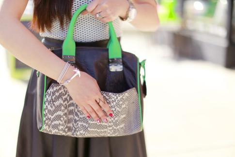An Dyer carrying Hayden Harnett Sandrine Satchel, Miansi Anchor Bracelet