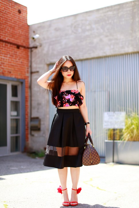 An Dyer revolve floral crop top, express high waist midi skirt sheer panel, louis vuitton ribera mm, justfab Kyla Red Floral Sandals