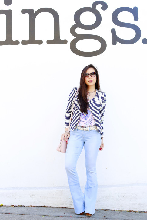 An Dyer wearing Bulgari Sunglasses with JustFab Striped Jacket with YMI Light Blue Flared Bell Bottom Jeans