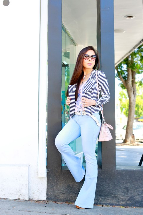 An Dyer wearing JustFab Striped Jacket with YMI Light Blue Flared Bell Bottom Jeans