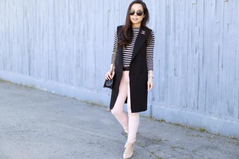 An Dyer wearing Long Vest Blazer Sleevelss Coat Chanel Brooch Stripe Shirt Pink Jeans